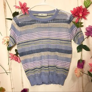 Zara Knit Sweater | Short Sleeve Sweater | Pastel